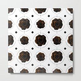 Black Rose Pattern - Black And Gold Rose - Death - Minimal Black And Gold Decor - Dark 4 Metal Print