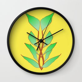 Illuminating Fern Leaf Graphic Print Wall Clock