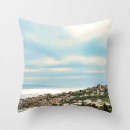 European Sunset | Colorful Costal Clouds Skyline Charming Ocean Town Baby Blue Yellow Tones Throw Pillow