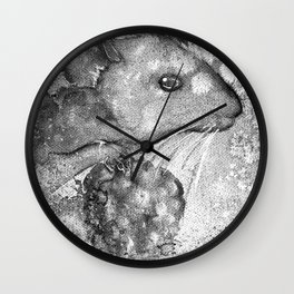 black and white : mouse Wall Clock