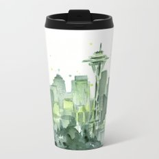 Seattle Watercolor Painting Metal Travel Mug