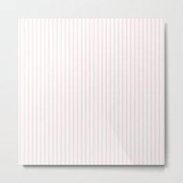 Light Soft Pastel Pink and White Mattress Ticking Metal Print