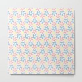 Modern pastel pink coral blue floral illustration Metal Print