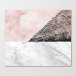 Smokey marble blend - pink and grey stone Canvas Print
