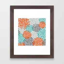 Floral Pattern, Abstract, Orange, Teal and Gray Framed Art Print