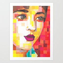 Red Portrait of Woman Art Print
