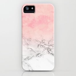 Modern blush pink watercolor ombre white marble iPhone Case