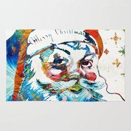 Colorful Santa Art by Sharon Cummings Rug