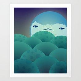Moonlit Hills Art Print