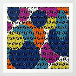 Ethnic style pattern wax, geometric abstract shapes colorful, large round purple, khaki, blue,orange Art Print