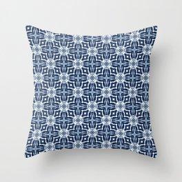 Watercolor Shibori Indigo Throw Pillow