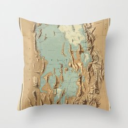Map Of Lake Bonneville 1900 Throw Pillow