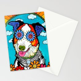 Happy Border Collie Stationery Cards