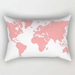 we all live in the one world… a map created from a series of small heart shaped icons Rectangular Pillow