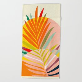 minimal leave tropical spring Beach Towel