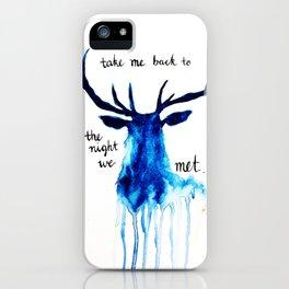 """Watercolour Deer Lord Huron lyrics """"take me back to the night we met"""" iPhone Case"""