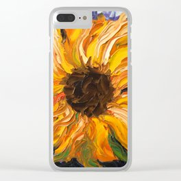 Fiery Sunflower - Original Painting Clear iPhone Case