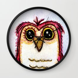 Owl at Rest - Watercolor Wall Clock