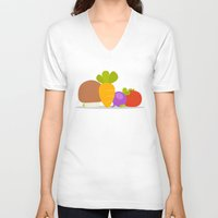 vegetables V-neck T-shirts featuring Vegetables by Jane Mathieu