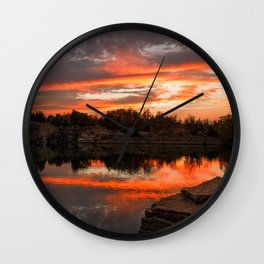 Sunset at Halibut Point Quarry Wall Clock