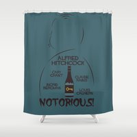 hitchcock Shower Curtains featuring Notorious! Alfred Hitchcock Movie Poster by Stefanoreves