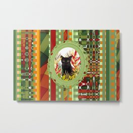 Black Cat jungle Frame pattern Metal Print
