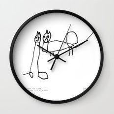 [two cats, one is sad because she has a pig's tail] - nadya 3 yr Wall Clock