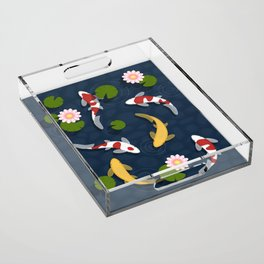 Japanese Koi Fish Pond Acrylic Tray