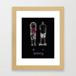 Battery (+/-) 1, on Black background. Framed Art Print