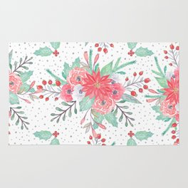 Pretty watercolor Christmas floral and dots design Rug