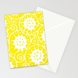 Lemon Swirl Pattern | Swirl Pattern | Abstract Patterns | Yellow and White | Stationery Cards