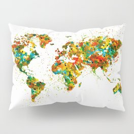 Map of the World watercolor Pillow Sham