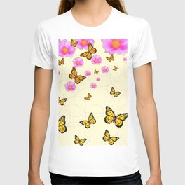 YELLOW-ORANGE MONARCH BUTTERFLIES PINK ROSES  MONTAGE T-shirt
