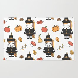 cartoon thanksgiving pattern with pilgrim unicorns, pumpkins, apples, pears, leaves and acorns Rug
