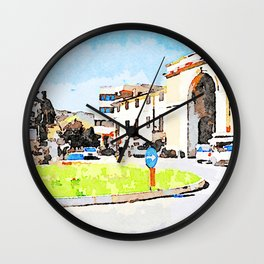 Teramo: square with monument and city gate Wall Clock