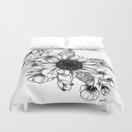 Bouquet of Flowers with Sunflower / Fall floral lineart Duvet Cover
