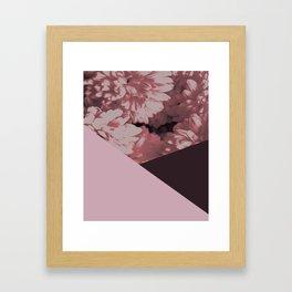 Pink mums geometrical collage Framed Art Print