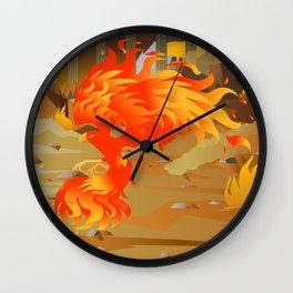 phoenix bird on fire Wall Clock