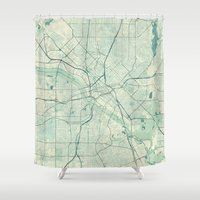 dallas Shower Curtains featuring Dallas Map Blue Vintage by City Art Posters