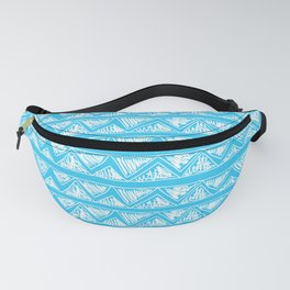 Simple Geometric Zig Zag Pattern - White on Teal - Mix & Match with Simplicity of life Fanny Pack