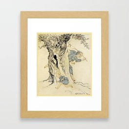 Arthur Rackham - Irish Fairy Tales (1920) - Man and boy chasing each other around a tree Framed Art Print