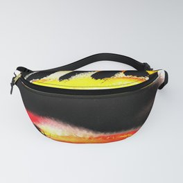 Bold Painterly Abstract Stripes In Black Red and Yellow Fanny Pack