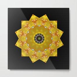 Orchid - Cymbidium Via Ambarino mandala/kaleidoscope on black Metal Print