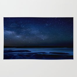Dark Night California Coastal Waters Rug