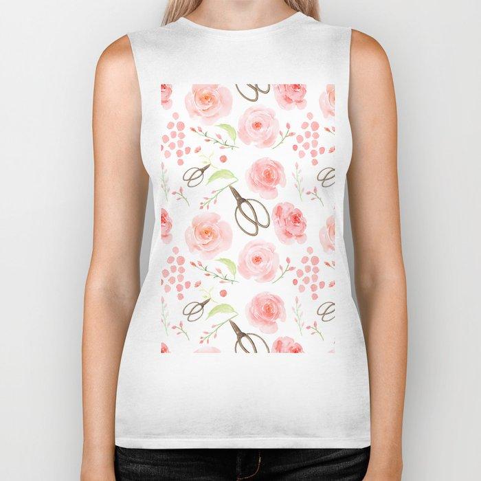 Summer Flowers Flower Floral Pink Vintage Roses #Society6 Biker Tank