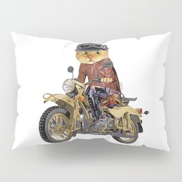 Cat riding motorcycle Pillow Sham
