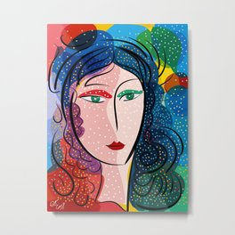 Multicolor Pop Portrait Girl in Love Metal Print