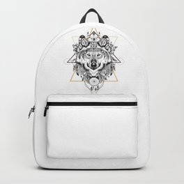 Into the wild - Wofl in aztec style Backpack