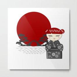 Red hair kokeshi Metal Print