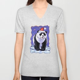 Panda Bear Christmas Unisex V-Neck